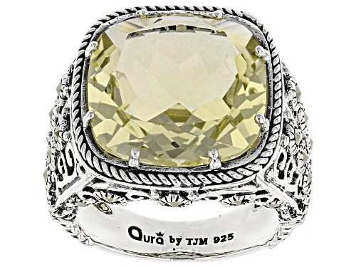 Photo of 9.71ct square cushion canary yellow quartz with round marcasite sterling silver ring - Size 7