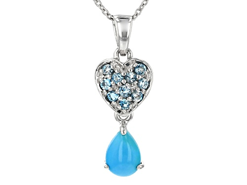 Photo of 8x6mm Pear Shape Turquoise and .42ctw London Blue Topaz Silver Heart Pendant with Chain