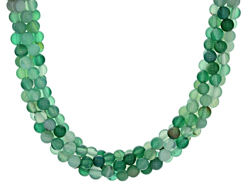 Photo of 4mm Round Green Banded Agate Sterling Silver Torsade Necklace - Size 20
