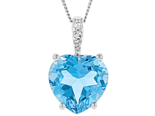 Photo of 5.00ct Heart Shape Swiss Blue topaz & .05ctw white topaz silver pendant with chain