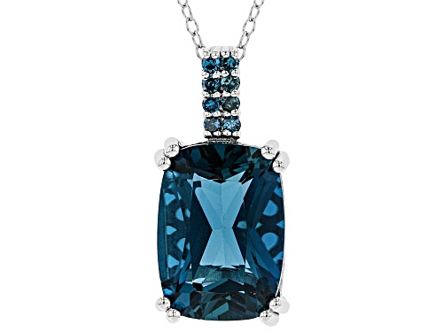 Photo of 6.97ct cushion London blue topaz with .10ctw round blue diamond sterling silver pendant with chain