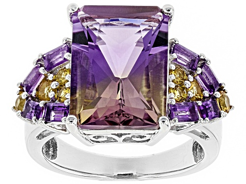 Photo of 6.63CT AMETRINE WITH .64CTW AFRICAN AMETHYST AND .54CTW YELLOW SAPPHIRE RHODIUM OVER SILVER RING - Size 12