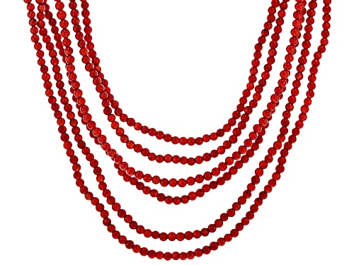 Photo of 4-5mm round red coral sterling silver 6-row bead necklace - Size 18