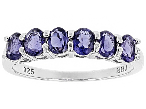 Photo of .84CTW OVAL IOLITE WITH .01CTW ROUND WHITE TWO DIAMOND ACCENT RHODIUM OVER SILVER BAND RING - Size 6