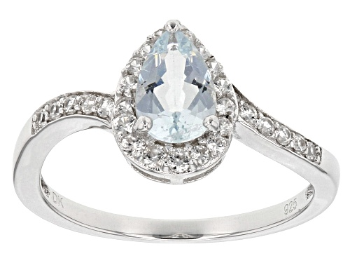Photo of .55ct pear shape Brazilian aquamarine with .34ctw Round white zircon sterling silver ring - Size 9