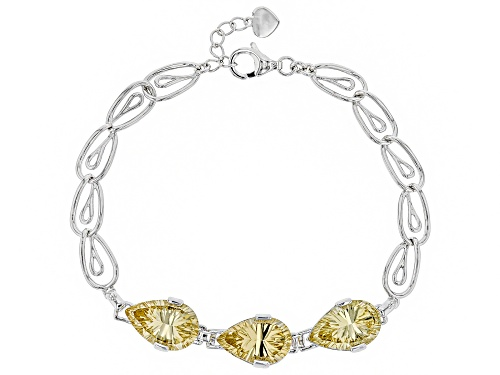 Photo of 10.71CTW PEAR SHAPE QUANTUM CUT™ CHAMPAGNE QUARTZ RHODIUM OVER STERLING SILVER BRACELET - Size 7.25