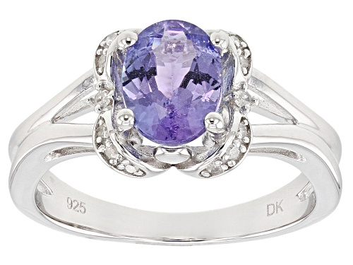 Photo of 1.18ct oval tanzanite with .04ctw round white diamond sterling silver ring - Size 9