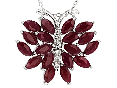 Photo of 6.05ctw marquise Indian ruby & .34ctw white zircon rhodium over silver butterfly pendant with chain