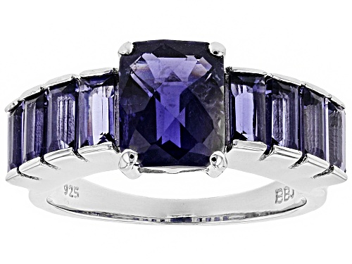 Photo of 3.54CTW RECTANGULAR AND BAGUETTE IOLITE RHODIUM OVER STERLING SILVER RING - Size 6