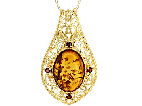 18X13MM OVAL AMBER WITH .17CTW VERMELHO GARNET™ 18K GOLD OVER STERLING SILVER PENDANT WITH CHAIN