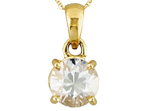 Photo of 2.12ct Round White Zircon 14k Yellow Gold Solitaire Pendant With Chain