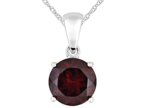 Photo of Vermelho Garnet™ 2.07ct Round 14k White Gold Solitaire Pendant With Chain