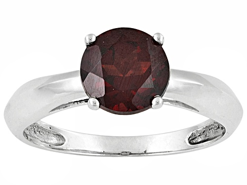 Photo of Vermelho Garnet™ 1.50ct Round 14k White Gold Solitaire Ring - Size 7