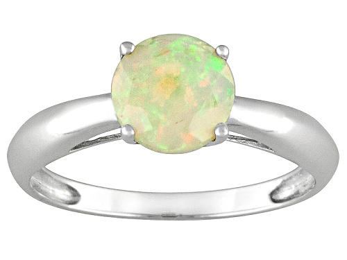 Photo of .64ct Round Faceted Ethiopian Opal 14k White Gold Solitaire Ring - Size 7