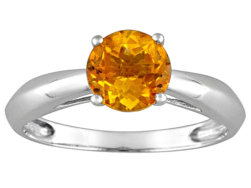 1.20ct Round Brazilian Citrine 14k White Gold Solitaire Ring - Size 9