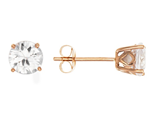 Photo of 2.00ctw Round White Zircon 14k Rose Gold Stud Earrings