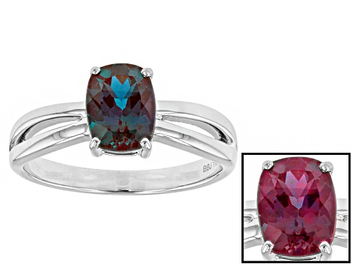 Photo of 1.40ct Rectangular Cushion Lab Created Alexandrite 14k White Gold Ring - Size 9