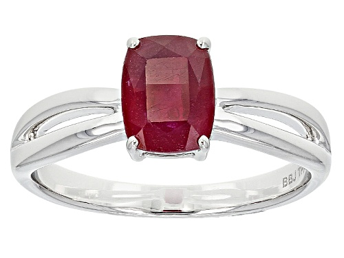Photo of 1.59ct Rectangular Cushion Mahaleo® Ruby Solitaire 14k White Gold Ring - Size 9