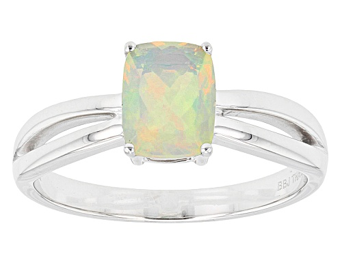 Photo of .61ct Rectangular Cushion Ethiopian Opal Solitaire 14k White Gold Ring - Size 9