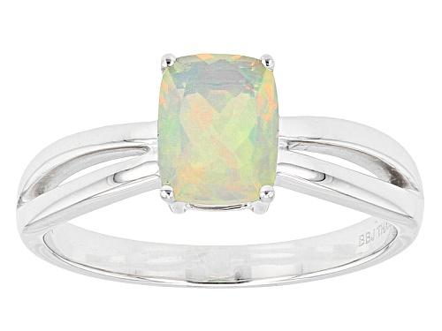.61ct Rectangular Cushion Ethiopian Opal Solitaire 14k White Gold Ring - Size 8