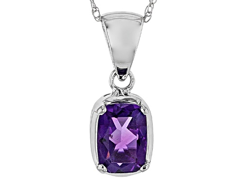 Photo of .68ct Rectangular Cushion African Amethyst 14k White Gold Solitaire Pendant With Chain