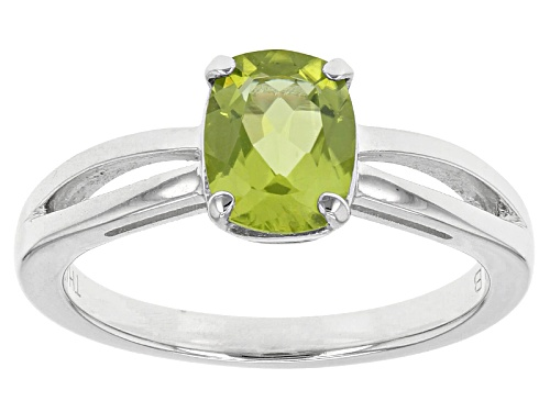 Photo of 1.16ct Rectangular Cushion Manchurian Peridot™ 14k White Gold Solitaire Ring - Size 7