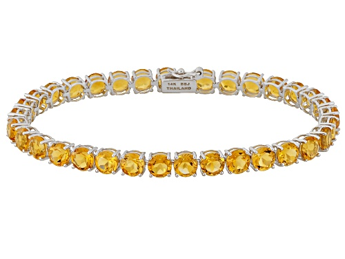 Photo of 13.18ctw Round Citrine 14k White Gold Tennis Bracelet - Size 7.25