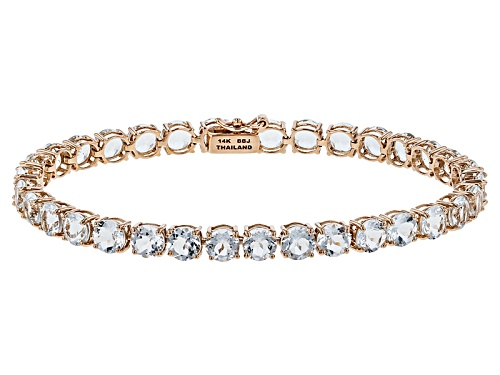 Photo of 12.62ctw Round Brazilian Aquamarine 14k Rose Gold Tennis Bracelet - Size 7.25