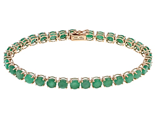 Photo of 14.02ctw Round Brazilian Emerald 14k Rose Gold Tennis Bracelet - Size 7.25