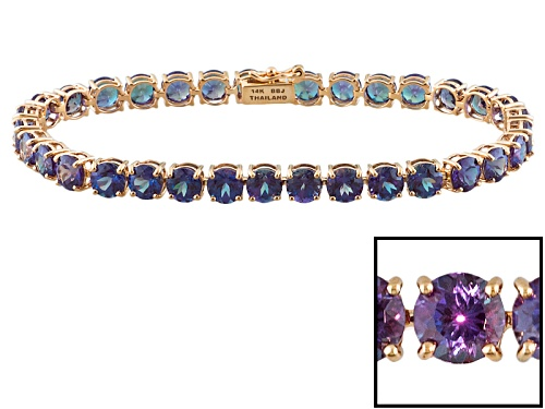 Photo of 15.98ctw Round Lab Created Alexandrite 14k Rose Gold Tennis Bracelet - Size 7.25