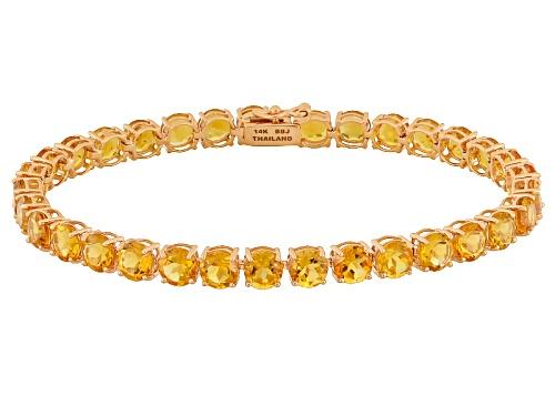 Photo of 13.18ctw Round Brazilian Citrine 14k Rose Gold Tennis Bracelet - Size 7.25