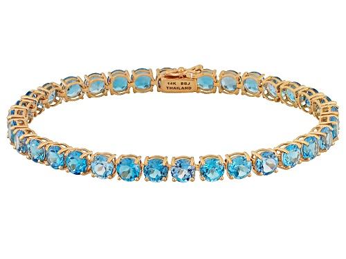 Photo of 17.95ctw Round Swiss Blue Topaz 14k Rose Gold Tennis Bracelet - Size 7.25