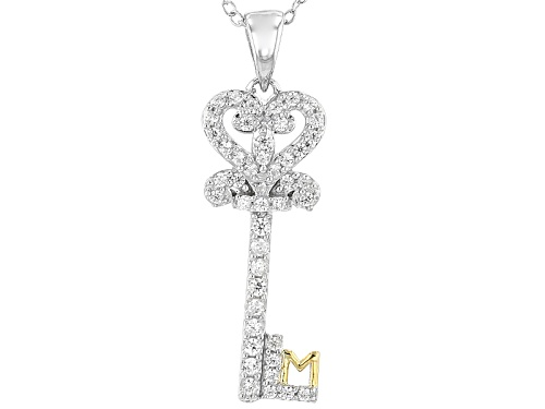 Photo of .80ctw Bella Luce® Rhodium/18k Yellow Gold Over Silver Key Pendant
