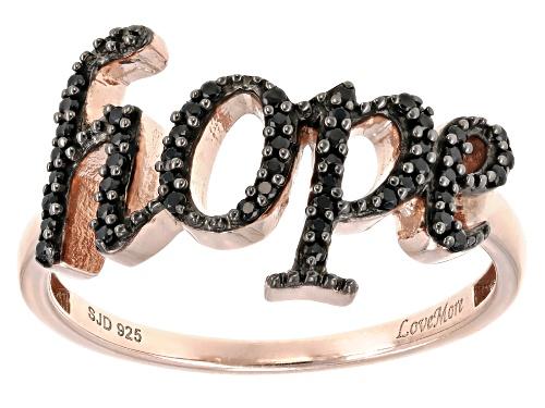 Photo of Black Spinel 18K Rose Gold Over Silver Hope Ring - Size 7