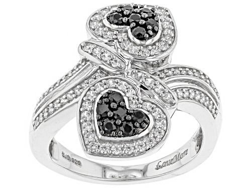 Photo of 1.26CTW Black Spinel & White Zircon Rhodium Over Sterling Silver Heart Ring - Size 6