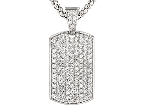 "Photo of Bella Luce® Rhodium Over Silver ""Chemo Hero"" Dog Tag Enhancer With Chain"