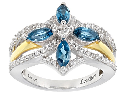 Photo of London Blue Topaz & White Zircon Rhodium & 18k Yellow Gold Over Silver Ring - Size 6