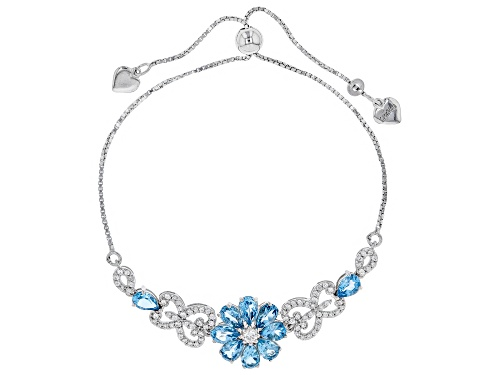 Photo of London Blue Topaz & White Zircon Rhodium Over Silver Bolo Floral Bracelet