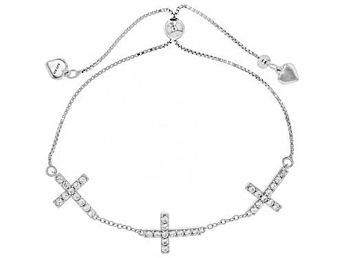 Photo of Bella Luce ® 1.67CTW White Zircon Rhodium Over Silver Adjustable Cross Bracelet