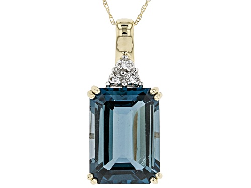 Photo of 8.30ct Emerald Cut London Blue Topaz With .02ctw White Zircon 10k Yellow Gold Pendant With Chain