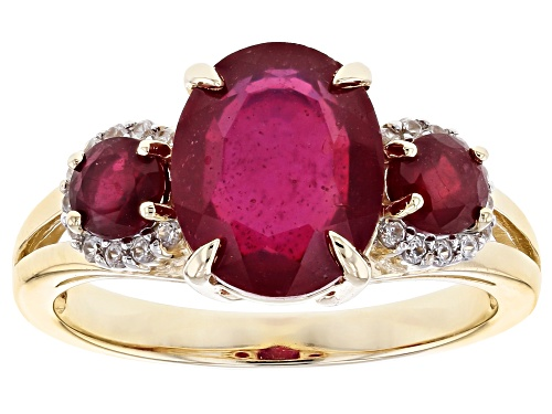 Photo of 4.11ctw Oval and Round Mahaleo® Ruby with .13ctw Round White Zircon 10k Yellow Gold Ring - Size 8