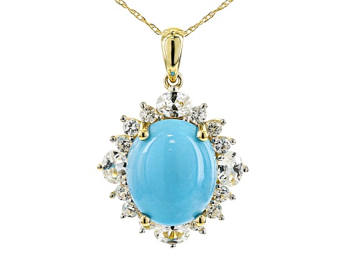 Photo of 12x10mm Sleeping Beauty Turquoise 1.14ctw Oval & Round Zircon 10k Yellow Gold Pendant W/Chain