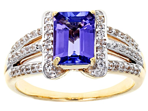 Photo of 1.36ct Emerald Cut Tanzanite with .34ctw Round White Zircon 10k Yellow Gold Ring. - Size 7