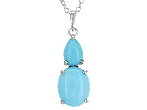 Photo of 10x8mm Oval And 7x5mm Pear Shape Cabochon Sleeping Beauty Turquoise Silver Pendant With Chain
