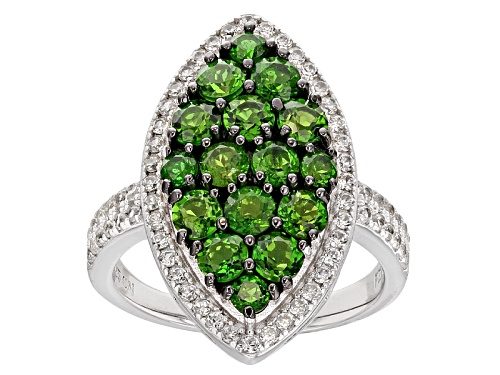 Photo of 1.80ctw Round Russian Chrome Diopside And .64ctw Round White Zircon Sterling Silver Ring - Size 6