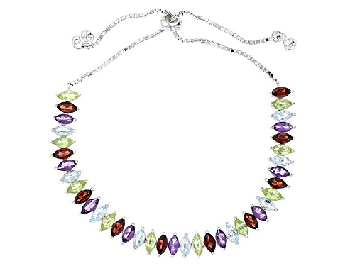 "Photo of 5.71ctw Marquise Multi Gem Sterling Silver Bolo Bracelet, Adjusts To Approximately 6""-9"" - Size 7.25"