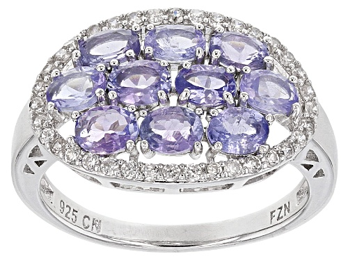 Photo of 2.00ctw Oval Tanzanite And .36ctw Round White Zircon Sterling Silver Ring - Size 7
