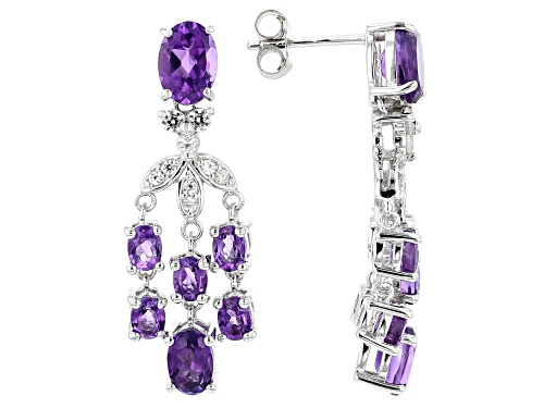 Photo of 3.38ctw Oval African Amethyst With .38ctw Round White Zircon Sterling Silver Dangle Earrings
