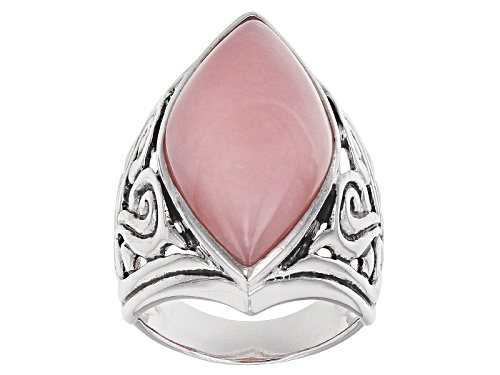 Photo of 27x13mm Marquise Cabochon Peruvian Pink Opal Sterling Silver Solitaire Ring - Size 12