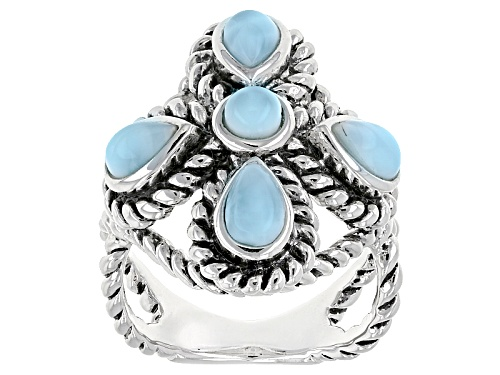 Photo of 6x4mm Pear Shape & 4mm Round Larimar Sterling Silver Twisted Rope Ring - Size 5